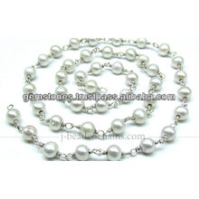 Beautiful Fresh Water Pearl Beaded Chain, Wholesale Gemstone Jewelry Manufacturer
