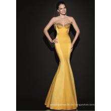 Heißer Verkauf Gold Satin Abend Dres Party Kleid