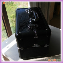 Black PVC Case Metal Cosmetic Case with Compartments (SACMC112)
