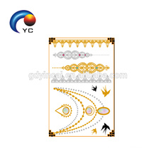 2018 Newly tattoo designs for Eco-friendly temporary gold tattoo Eco-friendly body sticker tattoos (gold series)<<< Custom body temporary gold silver foil metallic flash tattoos<<< The latest and high standard costomized temporary flash tattoos<<<