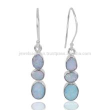 Las últimas Deign Joyería al por mayor Doublet Opal Gemstone 925 Sterling Sliver Dangle Earring