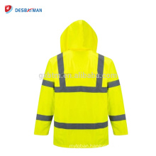 Fluorescent Yellow High Visibility Hi Vis Road Safety Traffic Waterproof RAIN Parka Jacket with Pockets