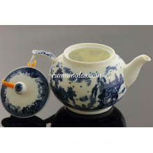 300cc dark Blue Landscape Ceramic Tea Pot/teapot