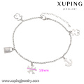 74510-xuping fashion indian jewelry steel love fashion anklet, silver color design anklet