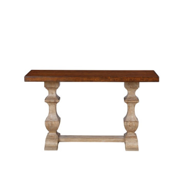 Solid oak wood antique rustic console table for living room