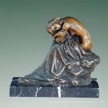 Figura femenina del arte Escultura de bronce Señora desnuda Estatua de cobre amarillo interior TPE-509