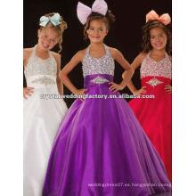 El halter caliente de la venta rebordeó el desfile júnior por encargo púrpura del desfile de las muchachas del vestido de bola CWFaf4671
