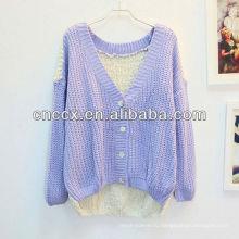 12STC0657 дамы кремового цвета хлопок кардиган свитера