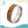Anillos de plata y titanio de madera para hombres, anillos de titanio de madera incrustada