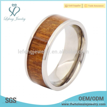 Wooden silver and titanium rings for men,wood inlay titanium rings