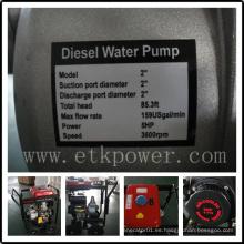 """Bomba de agua diesel de arranque eléctrico de 2 """"con tanque de combustible grande"""