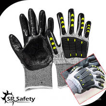 SRSAFETY 13G nylon and glassfibre coated black nitrile on palm, TPR chips on back