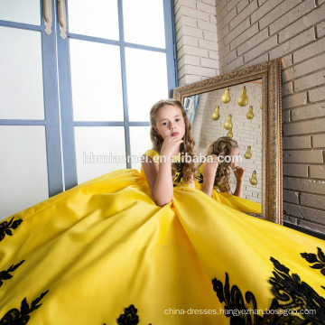 Yellow Color Lace Embroidered Sleeveless Maxi Dress Children Frocks Designs for Party