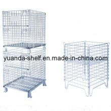 Almacén de malla de alambre plegable almacenamiento de metal jaula