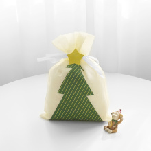 Beige Drawstring Gift Bag Printed Christmas Tree