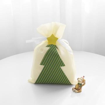 Bolsa de regalo con cordón beige Árbol de Navidad impreso
