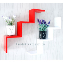 MDF high quality wall floating shelf 'w' shape wooden wall mount shower shelf
