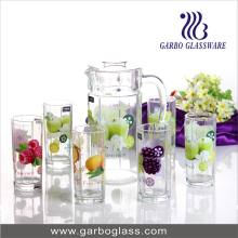 Nice Glass Drinking Ware Set, 7 PCS Water Set with Decal Flower, Lemon Set for Juice