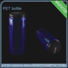 Botella de plástico PET cilíndrico botella de agua mineral con tapa