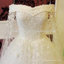 Vestido de Noiva El cordón del vintage Appliques el vestido de boda nupcial MW950 del vestido de bola del vestido de Mariage de la cintura