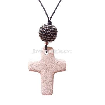 Collier Croix de lave, collier pendentif croix de lave longue Bohème avec cordon noir
