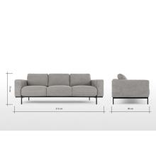 Homelike Style Metal Frame Leather Office Sofa Set