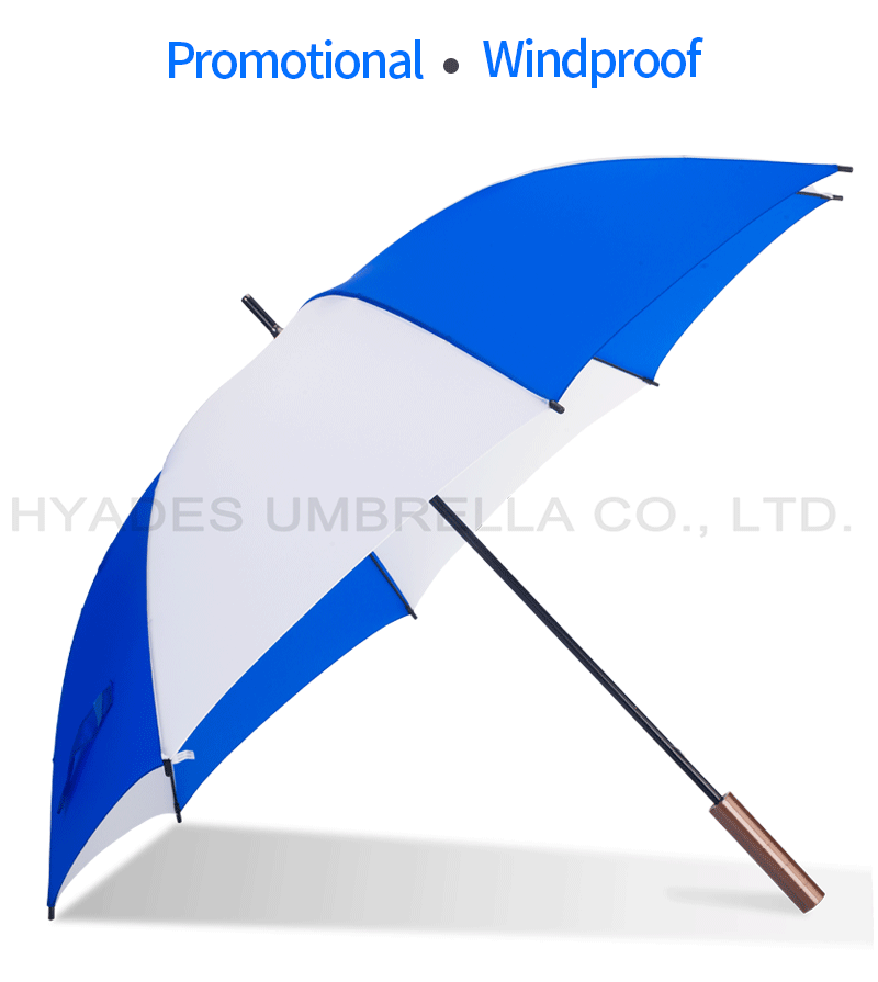 Blue White Manual Open Straight Umbrella