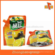 Stand up leakproof liquid food packaging with spout for fruit juice