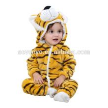 2018 popular paño animal tigre lindo, suave bebé franela mameluco Animal Onesie traje de trajes de pijamas, ropa para dormir