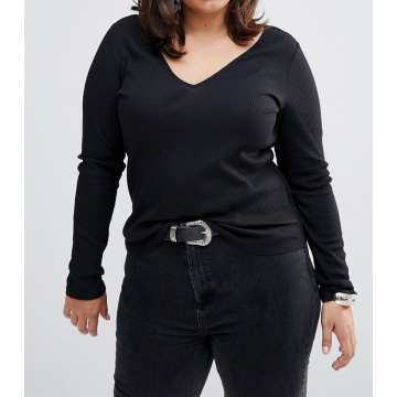Black Plus Size Fashion V Neck Wholesale Custom Women T Shirt