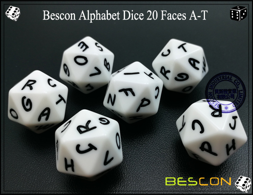 Bescon Alphabet Dice 20 Faces A-T-1