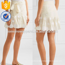 New Fashion Belted Embroidered Cotton-voile Mini Daily Skirt DEM/DOM Manufacture Wholesale Fashion Women Apparel (TA5105S)