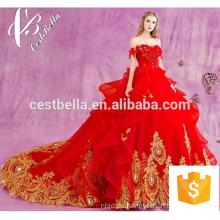 Vestido de boda nupcial cristalino moldeado 2017 Vestido de boda moldeado rojo para los indios Bridals