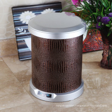 Brown Leather Round Aotomatic Sensor Waste Bin for Home (C-9LC)