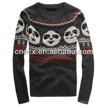 12STC0544 Panda verziert Stricken Herren Pullover