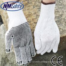 Gants de coton de NMSAFETY / gants de travail de paume pointillés de PVC