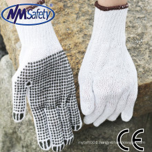 NMSAFETY cotton gloves/ pvc dotted palm work gloves