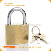 Hardware Tools Hardened Steel shackle titanium plated Golden iron padlock