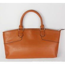 Guangzhou Supplier Fashionable Genuine Leather Lady Brown Handbag (196)