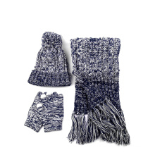 Factory supply Warm Simplicity Women Winter Knitted Warm Beanie Hat and Gloves scarf Winter Set