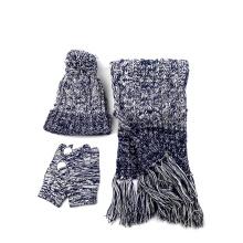 Fornecimento de fábrica Quente Simplicidade Mulheres Inverno Malha Quente Beanie Hat e Luvas cachecol Set Inverno