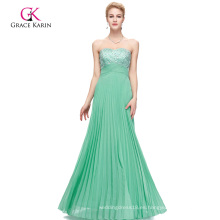 Grace Karin Strapless Backless rebordeado Long Aqua vestido de baile CL3083-3