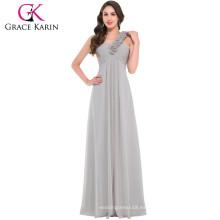 Grace Karin longitud de la gasa piso de un hombro correa floral largo vestido formal de la dama de honor CL3402-3 #