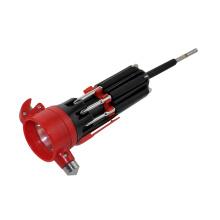 Multi-tournevis avec marteau d'urgence et lampe LED