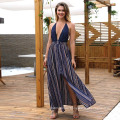 Frauen Sexy Strand Spaghettiträger Deep V-Ausschnitt Kleid