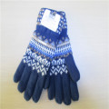 men's fleece lining  Knitted Gloves with Jacquard Design