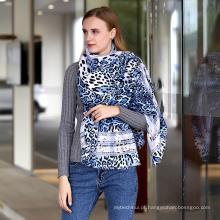 Moda feminina algodão macio animal Impresso leopardo Viscose senhora Cachecol