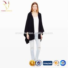 Frente abierto señoras de lana con capucha de punto poncho