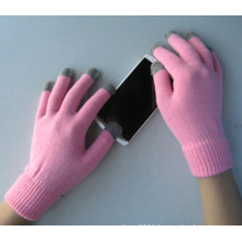 10g Polyester Liner Five Finger Pink Touch Screen Glove