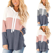 New Arrival Fall Autumn Women Tops for Ladies Color Stitching Print Knit Women Crop Top Hoodie